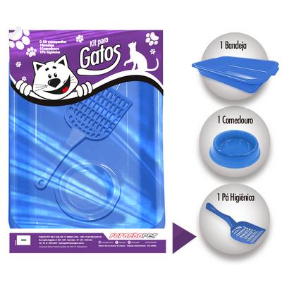 Kit de Gatos Joy 3 Pecas Azul Furacao Pet